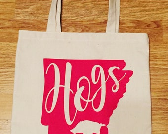 Arkansas Razorback Canvas Bag HOGS