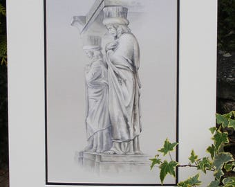 Sculpted figures from cemetery monument painting in watercolour