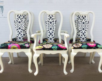 6 Piece Fiddle Back Wood Dining Chair Set
