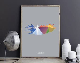 Iceland Art Iceland Wall Art Iceland Wall Decor Iceland Photo Iceland Print Iceland Poster Iceland Map Country Map Watercolor Map Country