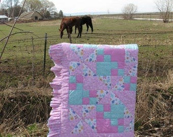 Nursery baby girl quilt hand quilted pinwheels butterflys dragon flys pink turqoiuse