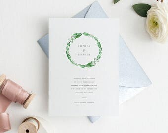 Greenery Wedding Invitation Suite Sample Set - Natural Inspired, Modern Watercolour Greenery Botanical Wreath Wedding Invitations