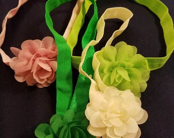 Handmade Baby Hair Bands With Removable Flowers With Alligator Clips