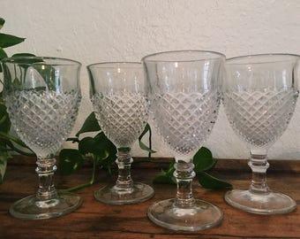 Set of 6 Vintage Clear Cut Glass Goblets, Boho Wine Glasses// SALE