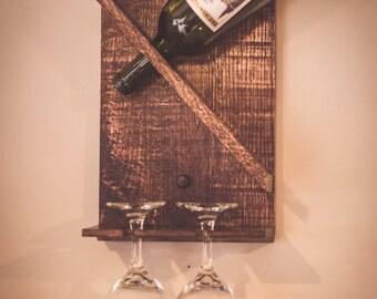 Reclaimed Wood Wine Bottle Rack with Glass Holder