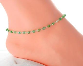 Delicate anklet, green
