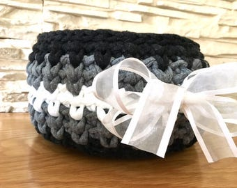 Black and Grey Storage Basket Crochet