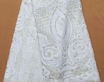 white color african lace fabric with  shinny sequins in fashion style  for african wedding dress , 5 yards /lot african fabric