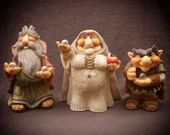3 Vintage Krystonia Figures with Crystals Witch Wizard