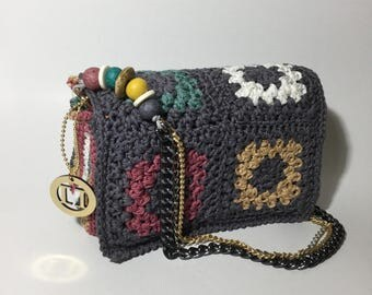 Granny Square handmade crochet bag