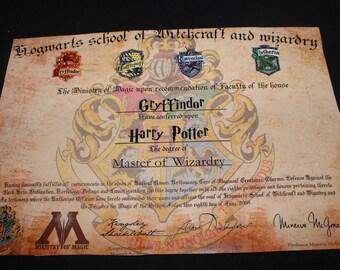 Personalized Hogwarts Degree