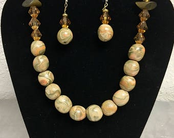 Sands of Time ~ Earth Tones Handmade and Vintage Bead Polymer Clay Necklace