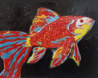 Original Mixed Media Painting, Koi Fish Art, Wall Art, Living Room Decor, Dining Room Decor, Bedroom Decor, 3D Art