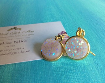 Gold Druzy Earrings Blush Rainbow