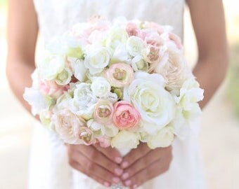 Silk Bride Bouquet White Cream Pale Pink Roses and Peonies Shabby Chic Vintage Inspired Rustic Wedding Keepsake Bouquet