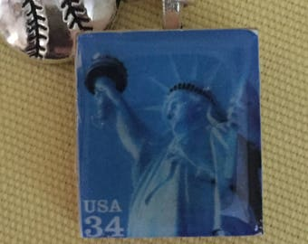Statue of Liberty Postage Stamp Pendant