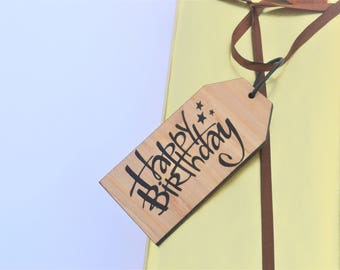 Happy Birthday Wooden Tag Personalised Gift Present Friend Family Celebrate