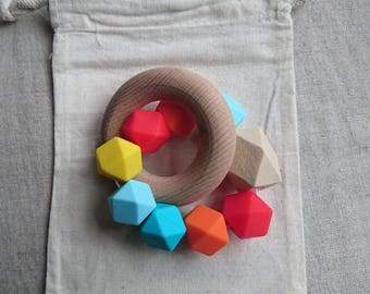 Lolly pop - Silicone and Beech teething rattle / Modern baby rattle