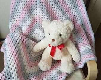 Handmade crochet granny baby blanket