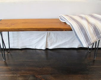 Reclaimed Wood Bench,Modern Industrial Bench, hairpin legs