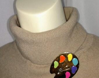 Silver Tone Palette Pin/Silver Metal Pin with Enamel/Multicolor Enamel Brooch/Painter Palette Pin/Gift Under 10.00/Nr.008