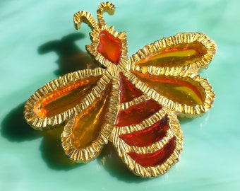 Orange Bumble Bee Pin | Bee Brooch | Bee Jewelry | Insect Jewelry | Gift for Her | Vintage Jewelry