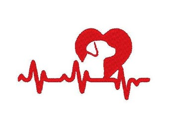Dog Heart beat Embroidery file