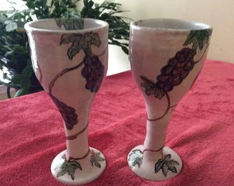 CLEARANCE Wine Chalices 2 Vintage Handmade #277