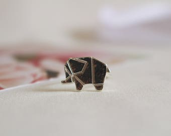 Silver Elephant Ring, Origami, Trendy, Resizable