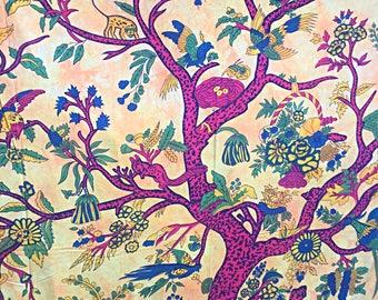 Yellow tie-dye hand printed 'tree of life' bedsheet/ throw