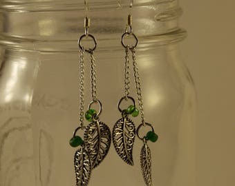 Chain and Leaf Earrings