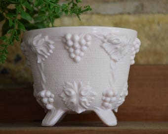 Vintage Pink Milk Glass Footed Compote, Planter