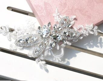 Crystal and lace headpiece