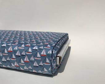 Blue Sailboat Fabric - By The Sea from Riley Blake Designs