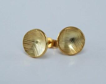Large hand engraved Stud earrings