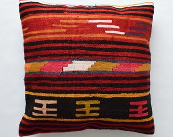 "Kilim rug pillow cover 26""x26"" (65x65cm) 024"