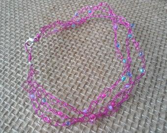 Hot pink beaded wire crochet bracelet