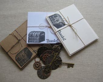 6 Handmade Vintage Chest blank notecard set