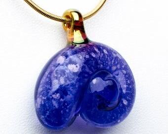 Amethyst Glass Nautilus Pet Cremation Pendant