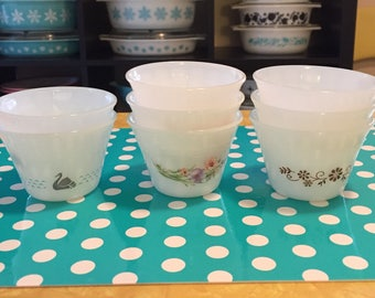 8 Vintage Custard Cups Milk Glass