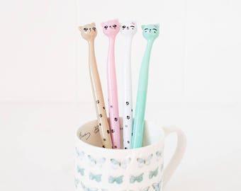Cat Pen, Gel Style Writing, Kawaii Stationary, School Supplies, Cute Gray cat