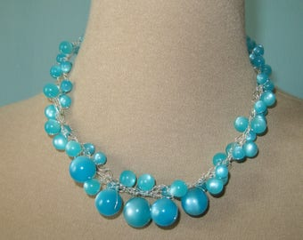 Aqua colored vintage beaded necklace