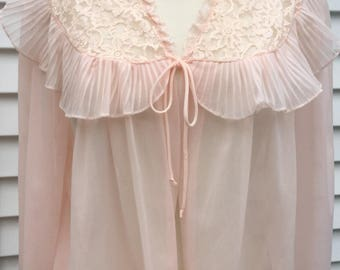 Lovely Vintage Nylon Bed Jacket w/ Lace Yoke  & Accordion Pleats Size Lg