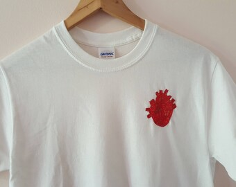 Heart Embroidered White T-Shirt
