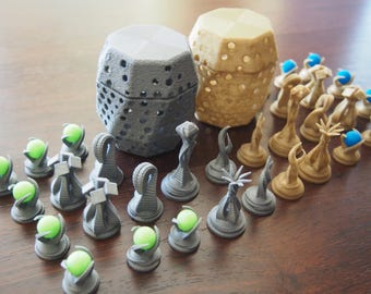 """Ultimate """"Alien Life"""" Chess Set with Glowing orbs and Asteroid Impact Pods 