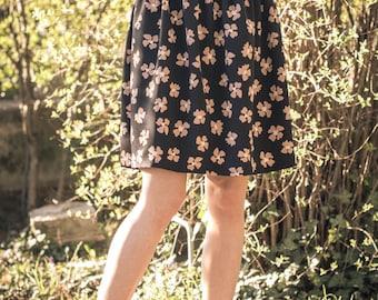 Floral skirt rayon, with elastic waist