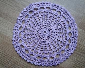 Round lilac crochet doily