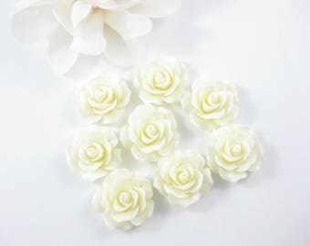 8PC Cream Resin Rose Flower Cabochon, Flat Back Resin Jewelry Supplies 18mm