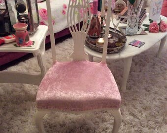 Crushed pale pink velvet chair