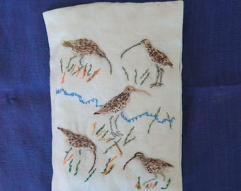 Handmade Embroidered Lavender Sachet/Pouch/Bag CURLEWS